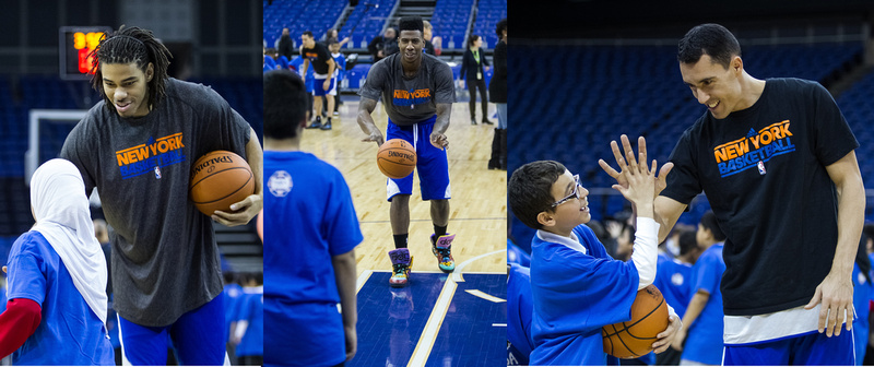 Knicks players leading youngsters through drills as part of an NBA Cares initiative